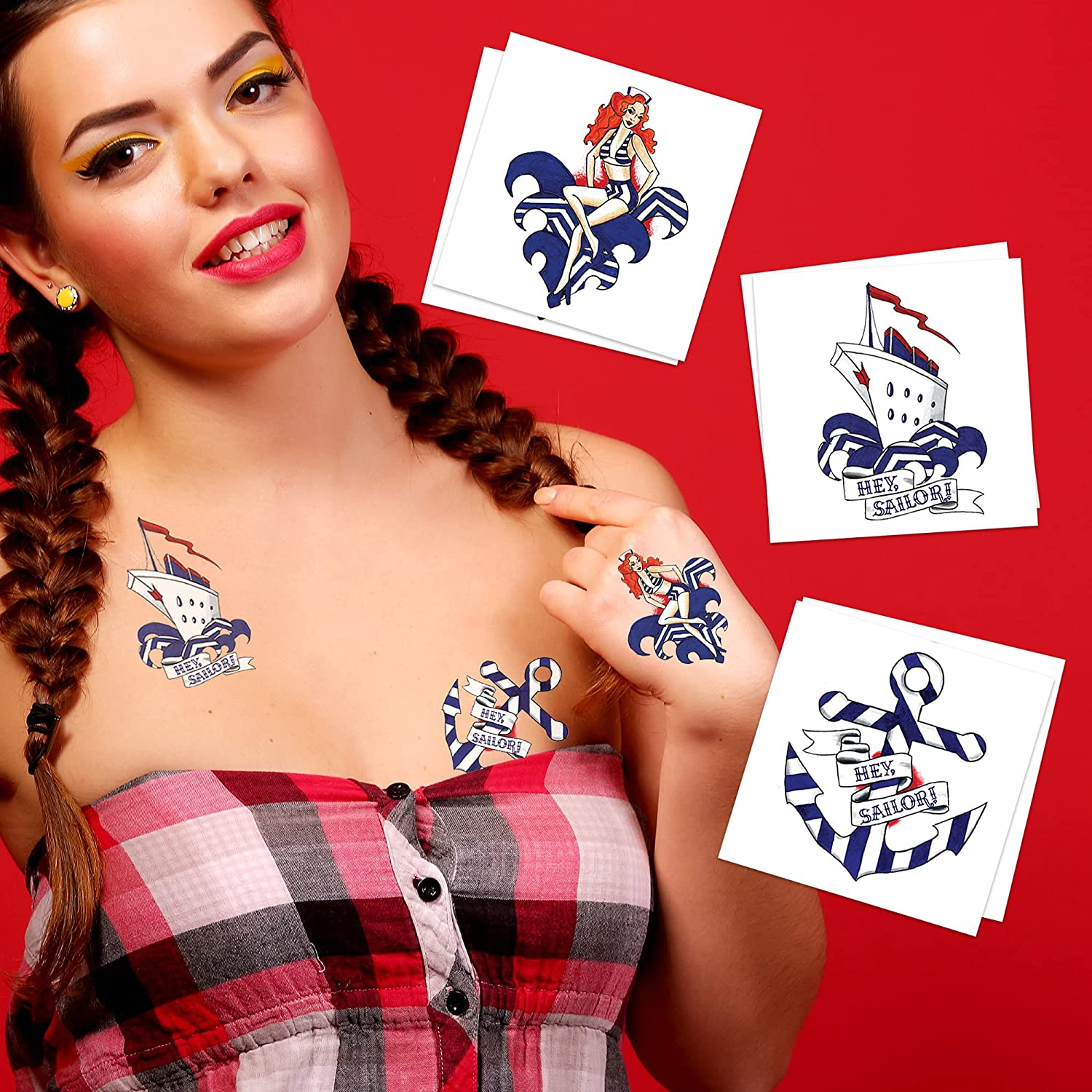 Hey Sailor Temporary Tattoos (3-Pack)   Skin Safe   MADE IN THE USA  Removable