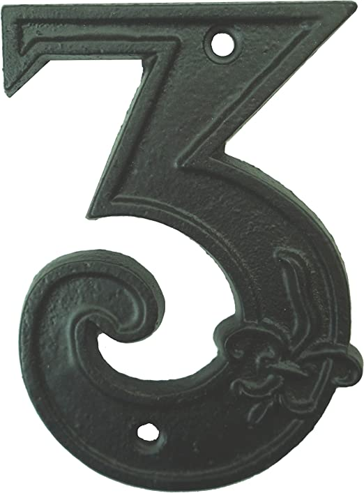 """Traditional 6/"""" Rustic House or Mail Box Number Plaque Hammered Iron Hand Forged"""
