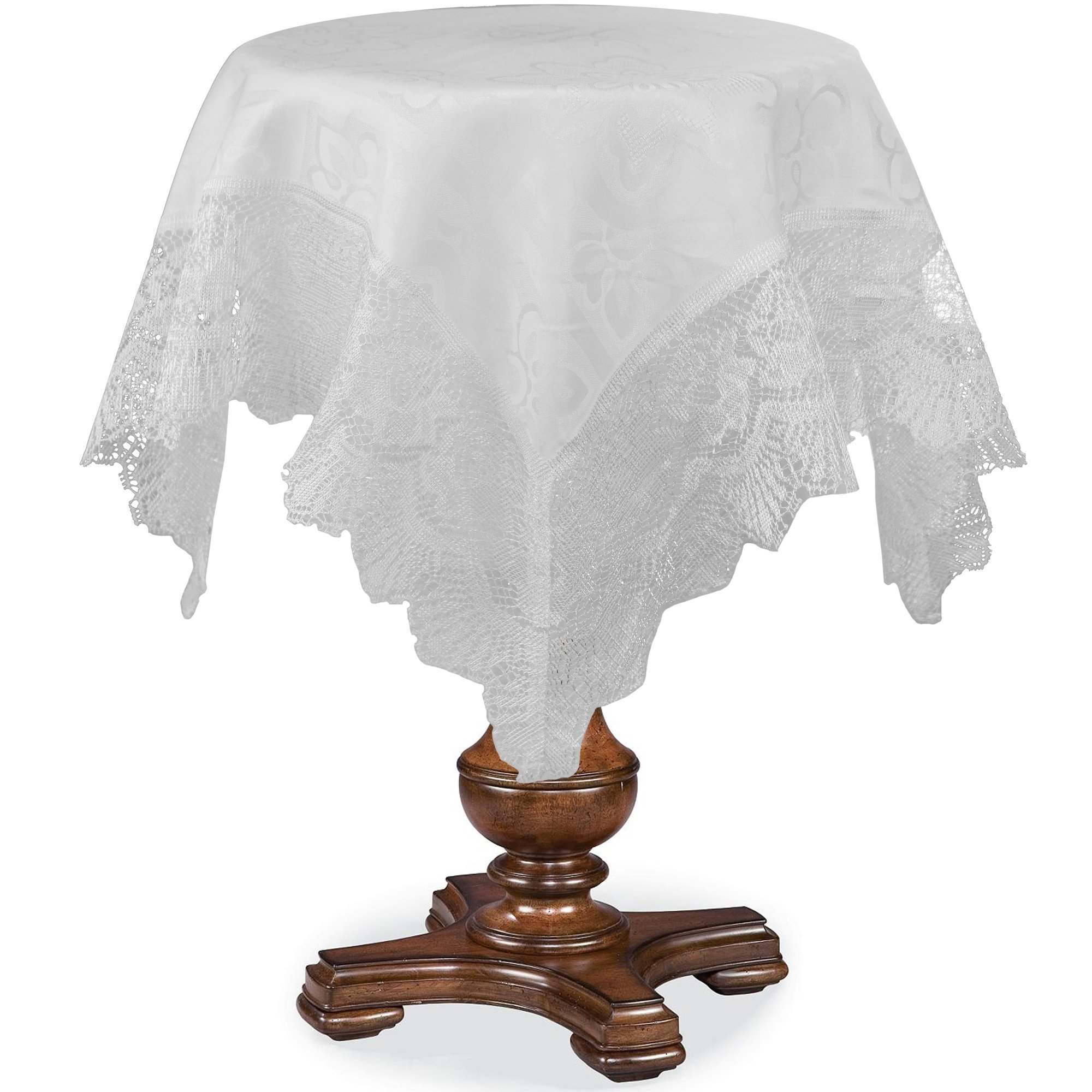 HomeCrate Luxurious Champion Print Design Lace Trimming 36'' Square Table Toppers - In White