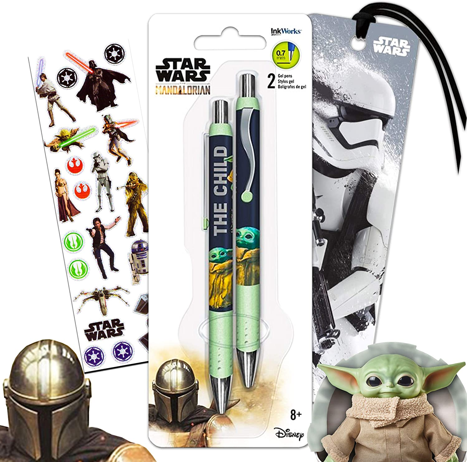Mandalorian Party Supplies Baby Yoda Pen Bundle - 4 Pc Star Wars Mandalorian Office Accessories with Baby Yoda Pen, Stormtrooper Bookmark, and Classic Star Wars Stickers (Mandalorian Party Supplies)