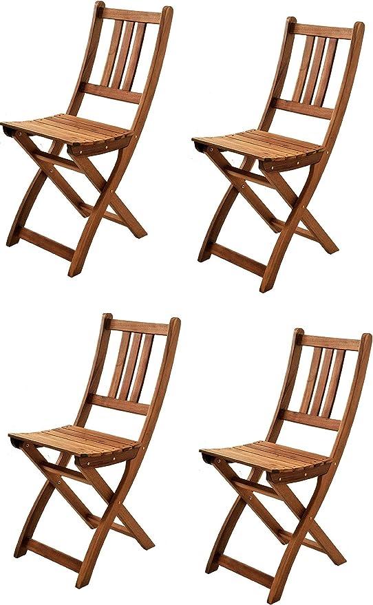 SAM® Set de 4 sillas Plegables de Madera de Acacia, Silla de jardín, Madera Maciza, Ideal para Balcones, terrazas o Jardines, Certificado FSC®: Amazon.es: Jardín