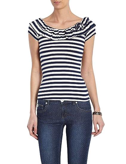 shirt - À rayures - Manches courtes - Femme - Bleu (Marine/Écru) - FR : 42 (Taille fabricant : L)Morgan UcHfEmKab