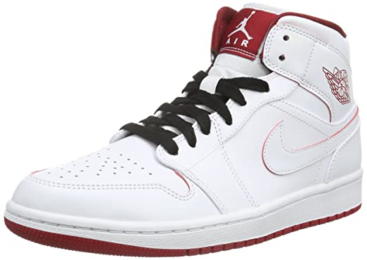 10baa5d58ca0 Nike Men s Air Jordan 1 Mid White Black Gym Red Basketball Shoe - 13