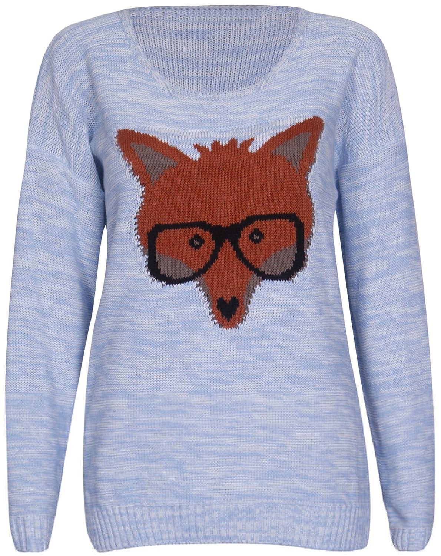 PurpleHanger Women's Fox Glasses Pullover Sweater Jumper Top