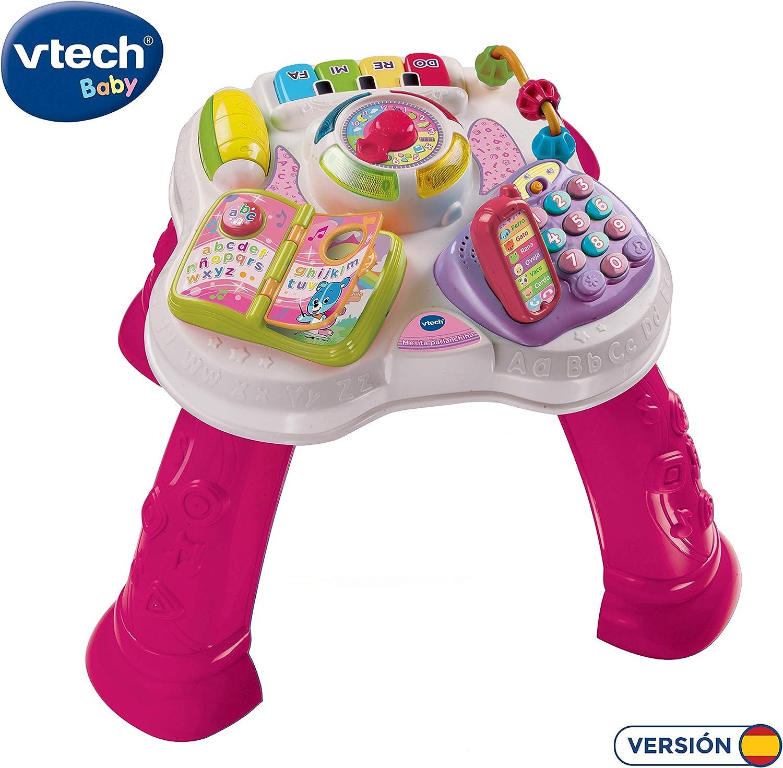 VTech Baby - Mesita parlanchina 2 en 1, mesa de actividades infantil con panel interactivo de actividades extraíble (80-148057)
