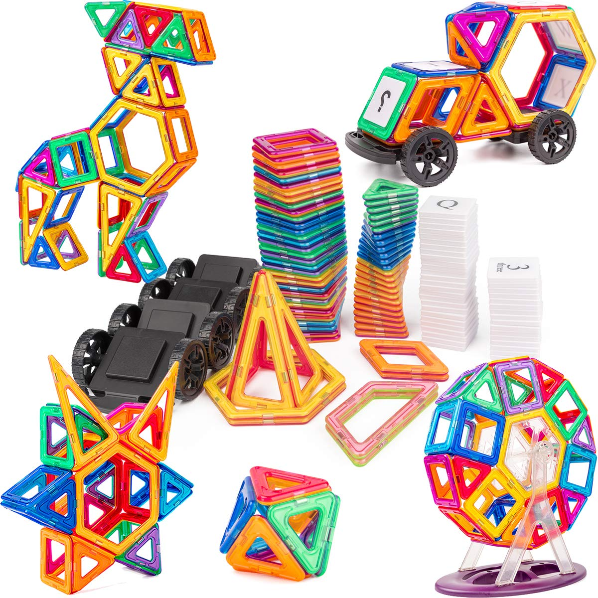 cossy Magnet Tiles Building Block, 115 PCs Magnetic Stick and Stack Set for Girls and Boys, Perfect STEM Educational Toys for Kids Children by cossy