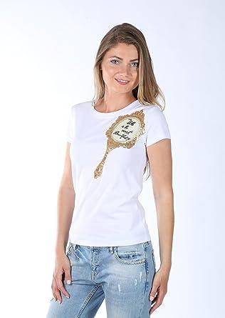 Neuster Trend Statement Shirt Mirror Mirror L Weiss Mit Gold