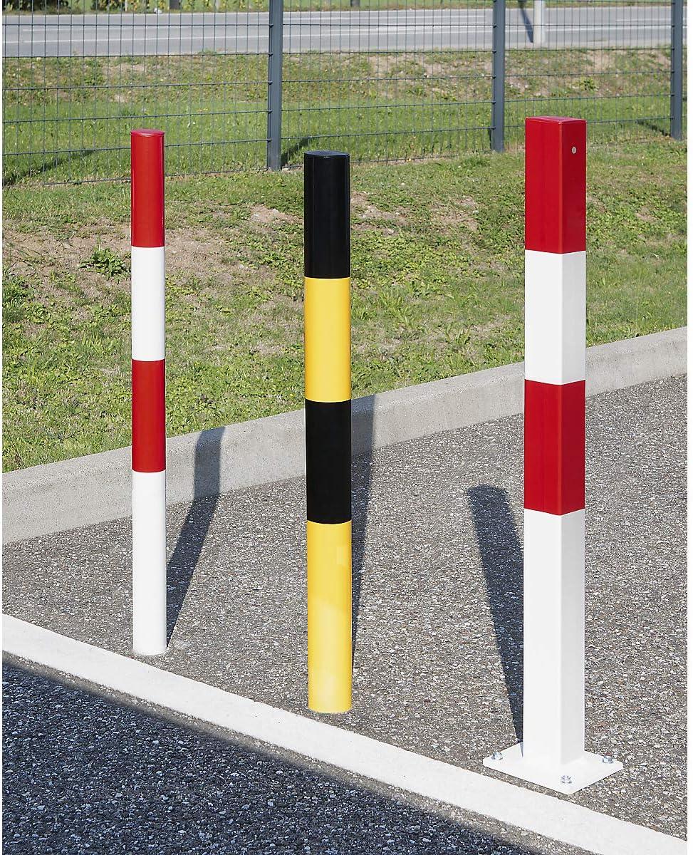 Sperrpfosten aus Stahlrohr zum Aufd/übeln kunststoffbeschichtet wei/ß /Ø 76 mm rot