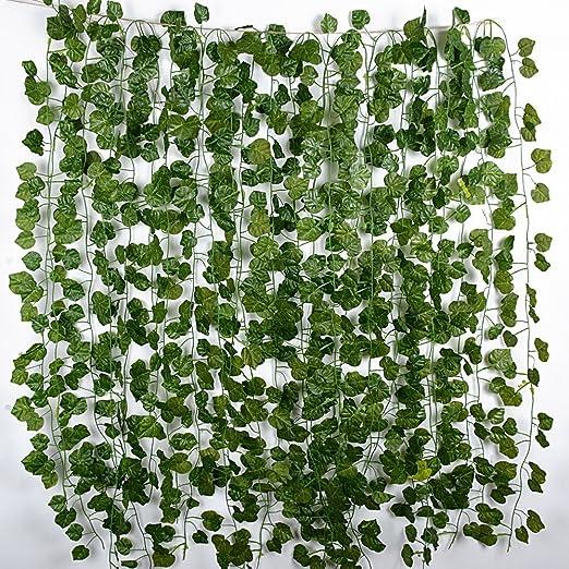 JNCH 12 Tiras Hiedra Artificial 2 m Plantas Artificiales Colgantes Hojas de Vid Enredaderas Guirnaldas para Decoración Fiesta Boda Escalera Pared Exterior: Amazon.es: Jardín