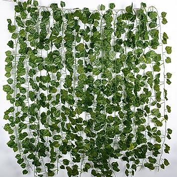2m 12pcs Plante Artificielle Vigne Guirlande Suspendre Lierre ...