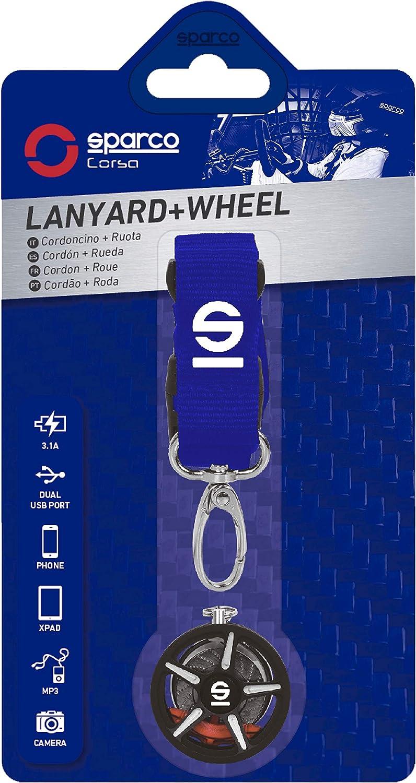 Sparco 6922516327027 Lanyard-ACOLLARDOR Y Llavero LLANTA Azul