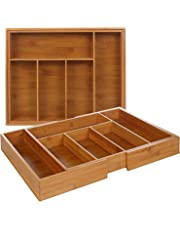 Bandeja de cajón para cubiertos de bambú extensible