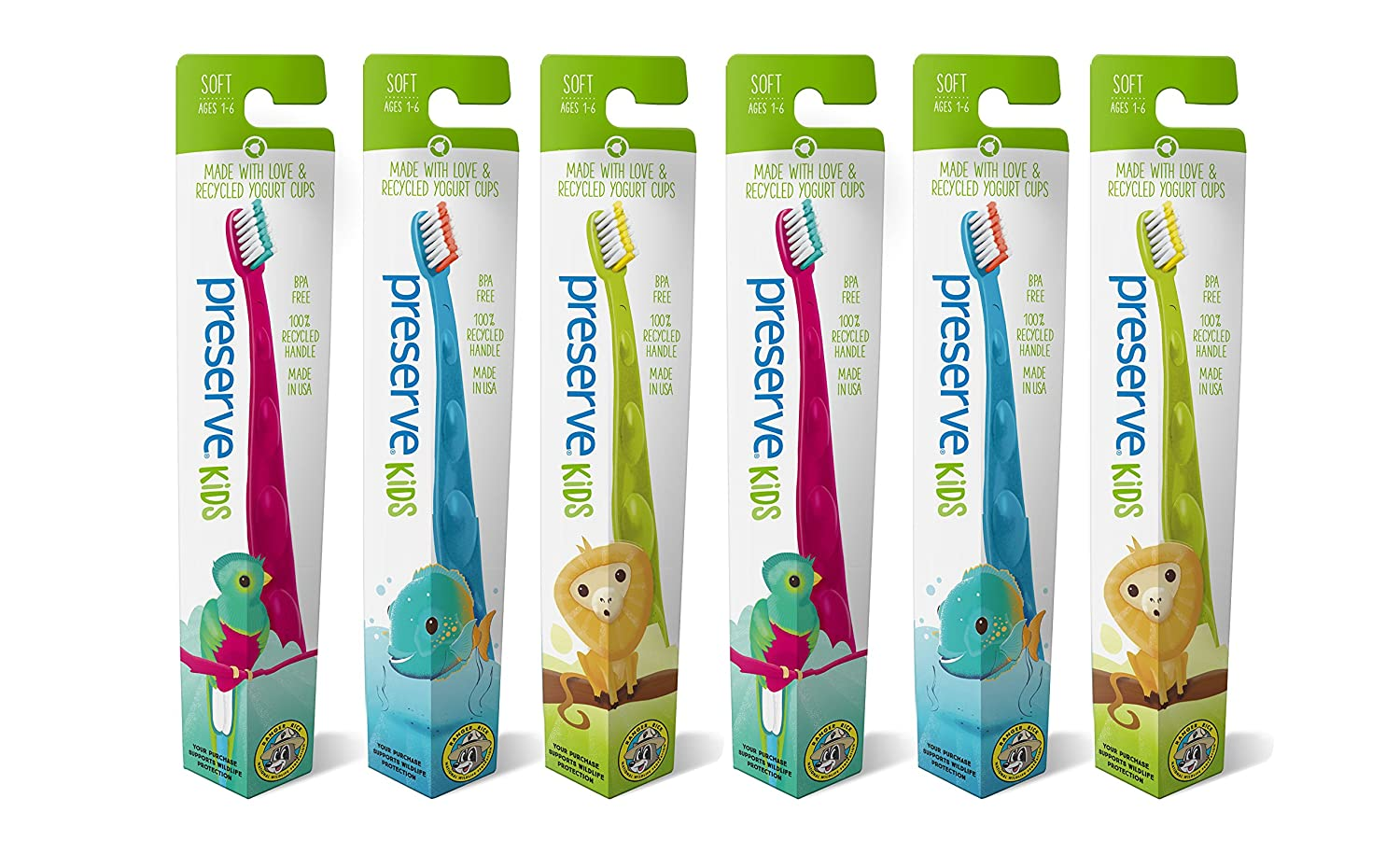 Preserve Kids Toothbrush, Soft Bristles, 6-Count 2010