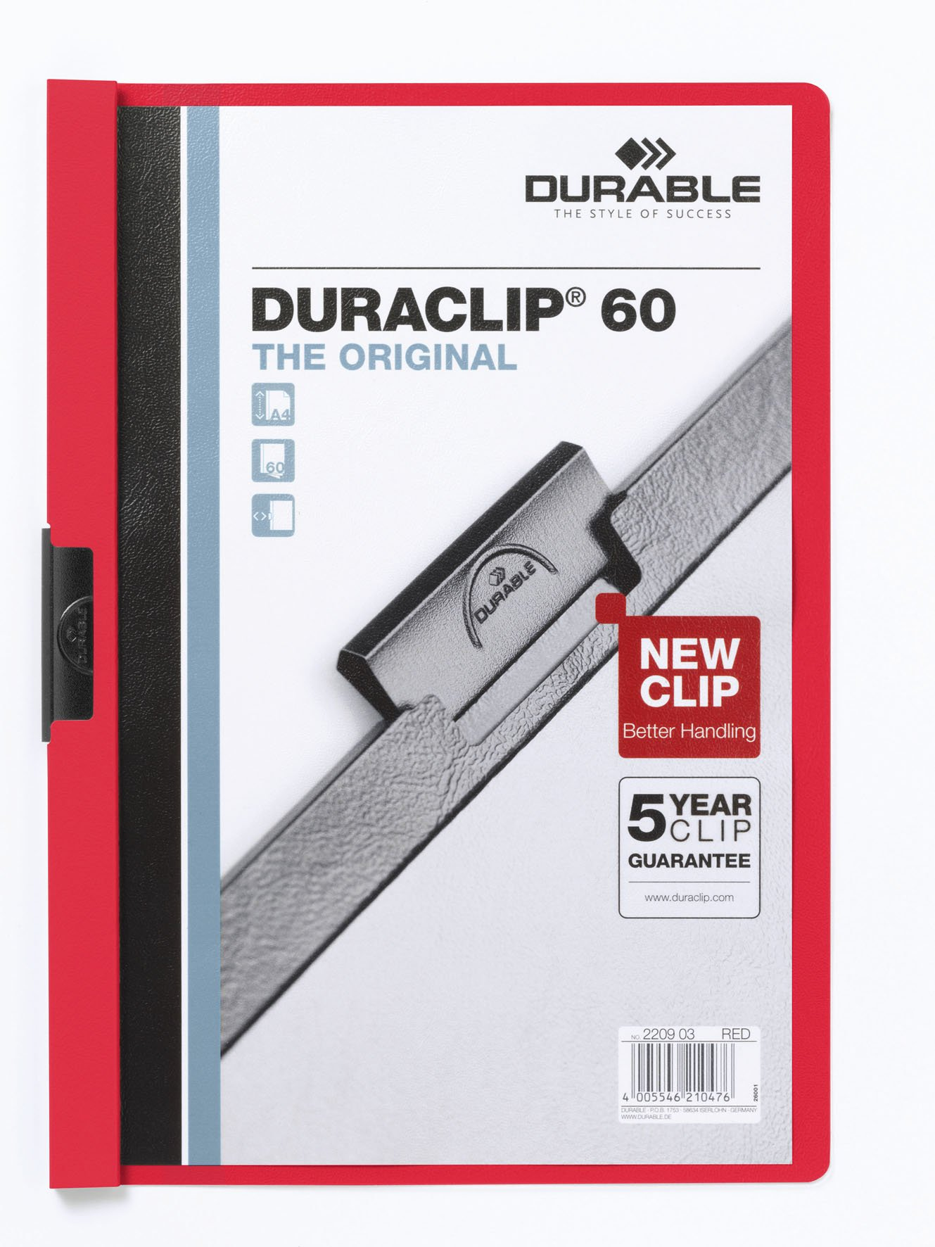 Durable Duraclip Folder PVC Clear Front 6mm Spine for 60 Sheets A4 Red Ref 2209/03 [Pack of 25]