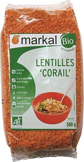 Lentejas Rojas Orgánicos - Lentejas Ecologicas Sin Gluten | 500g | Markal