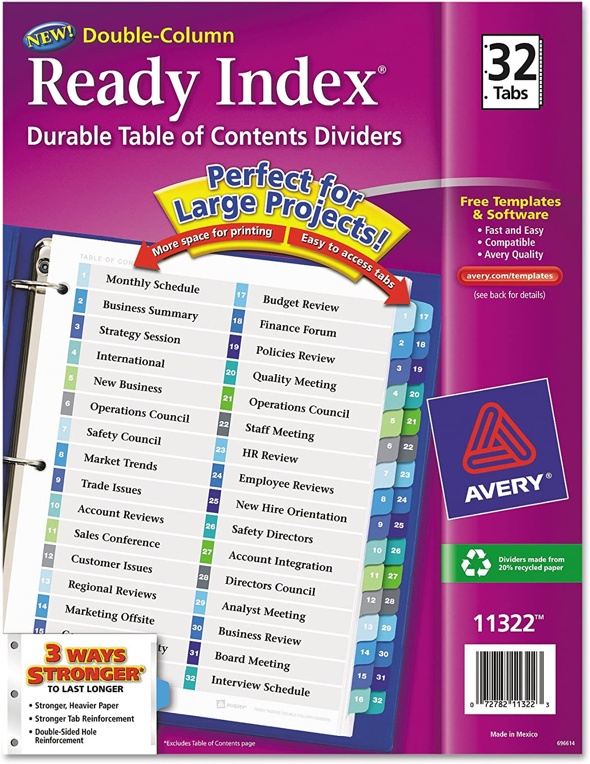 Avery 32-Tab Double Column 3-Ring Binder Dividers, Printable Table of Contents, Multicolor Tabs, 1 Set (11322)