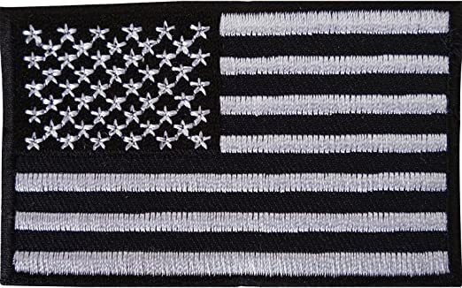 Color negro bandera de Estados Unidos parche bordado hierro Sew en americano América T Shirt bolsa insignia: Amazon.es: Hogar