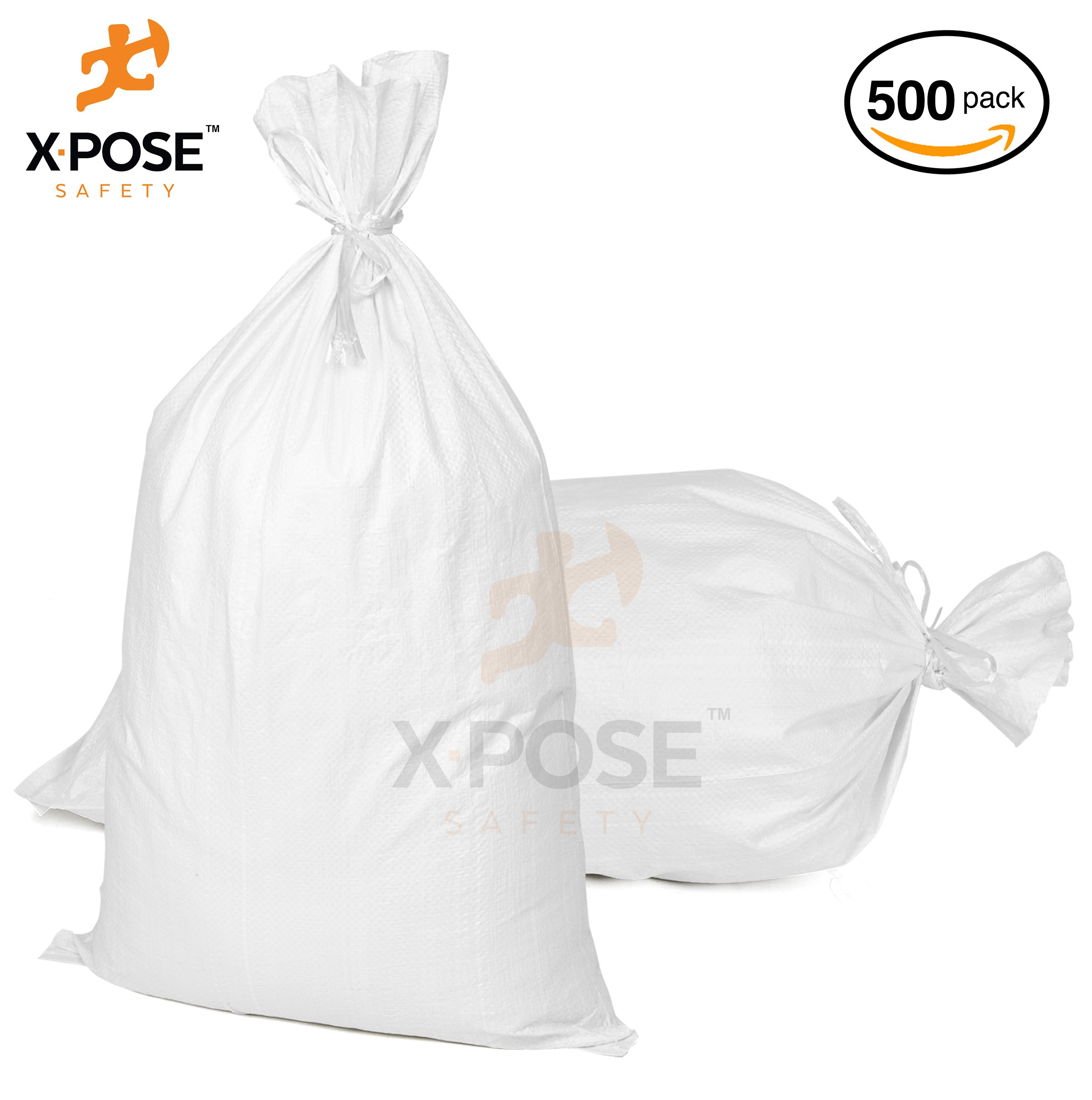 Empty Sand Bags With Ties – Heavy Duty Woven Polypropylene, UV Sun Protection, Dust, Water and Oil Resistant - Home and Industrial - Floods, Photography and More - by Xpose Safety (500, 18'' x 30'')