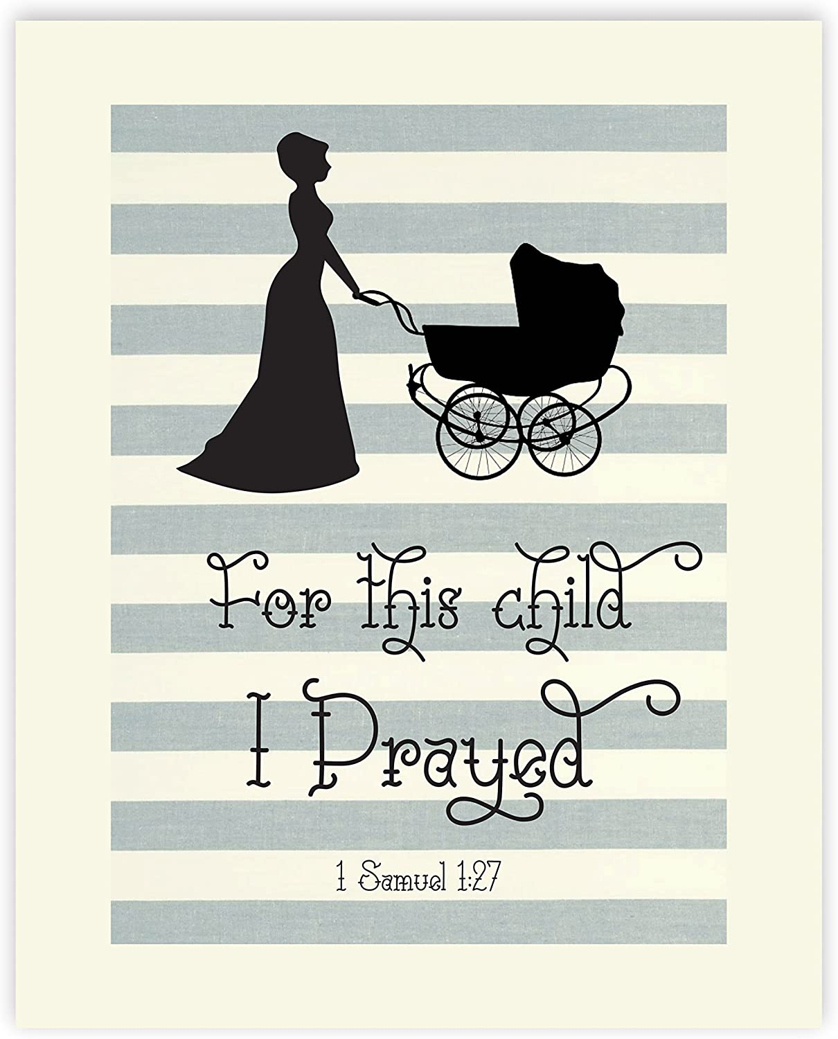 for This Child I Have Prayed 11x14, Girls Nursery Decor, Boys Nursery Decor, Nursery Wall Art, Baby Gift, Shabby Chic Nursery, Gray Nursery, Christian Wall Art, Samuel 1:27 Religious Quotes