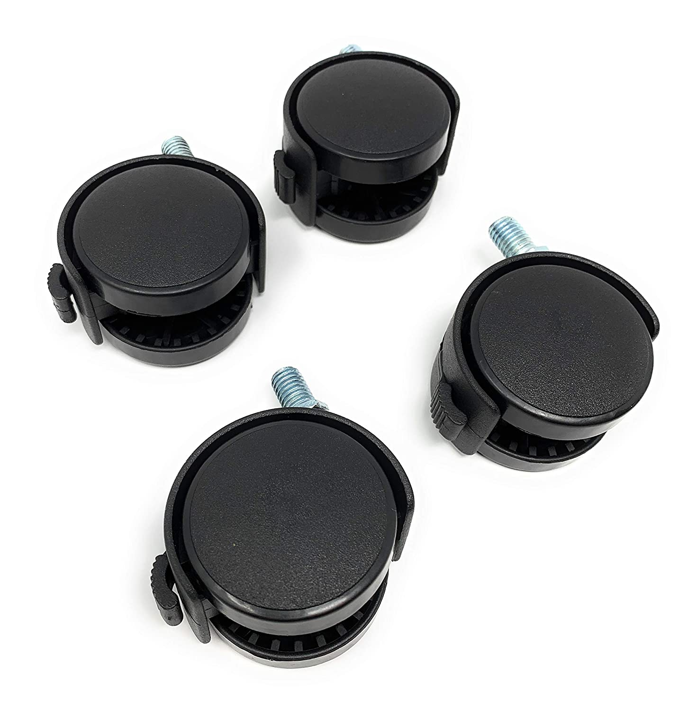 Design61 Juego de 4 ruedas para muebles di/ámetro: 50 mm, con rosca y freno para suelos blandos