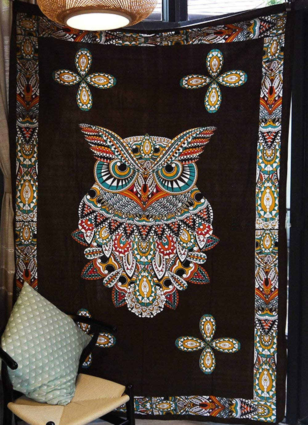 """Psychedelic Owl Tapestry Large Format Art Window Curtain Dorm Decor,60""""x 80"""""""