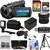 Sony Handycam FDR-AX33 Wi-Fi 4K Ultra HD Video Camera Camcorder + 64GB Card + Sony Case & Tripod + LED Light + Microphone + Battery + Fisheye Lens Kit