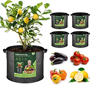 T4U Fabric Plant Grow Bags with Handles 10 Gallon Pack of 5, Heavy Duty Nonwoven Smart Garden Pot Thickened Aeration Nursery Container Black for Outdoor Potato, Tomato, Chili, Carrot and Vegetables