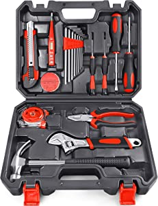 Arrinew 19pcs Household Tools Kit, Home Repair Tools Set for Homeowner with Portable Storage Case for Apartment, Garage and Dorm, High-grade Steel Perfect for Home Maintenance