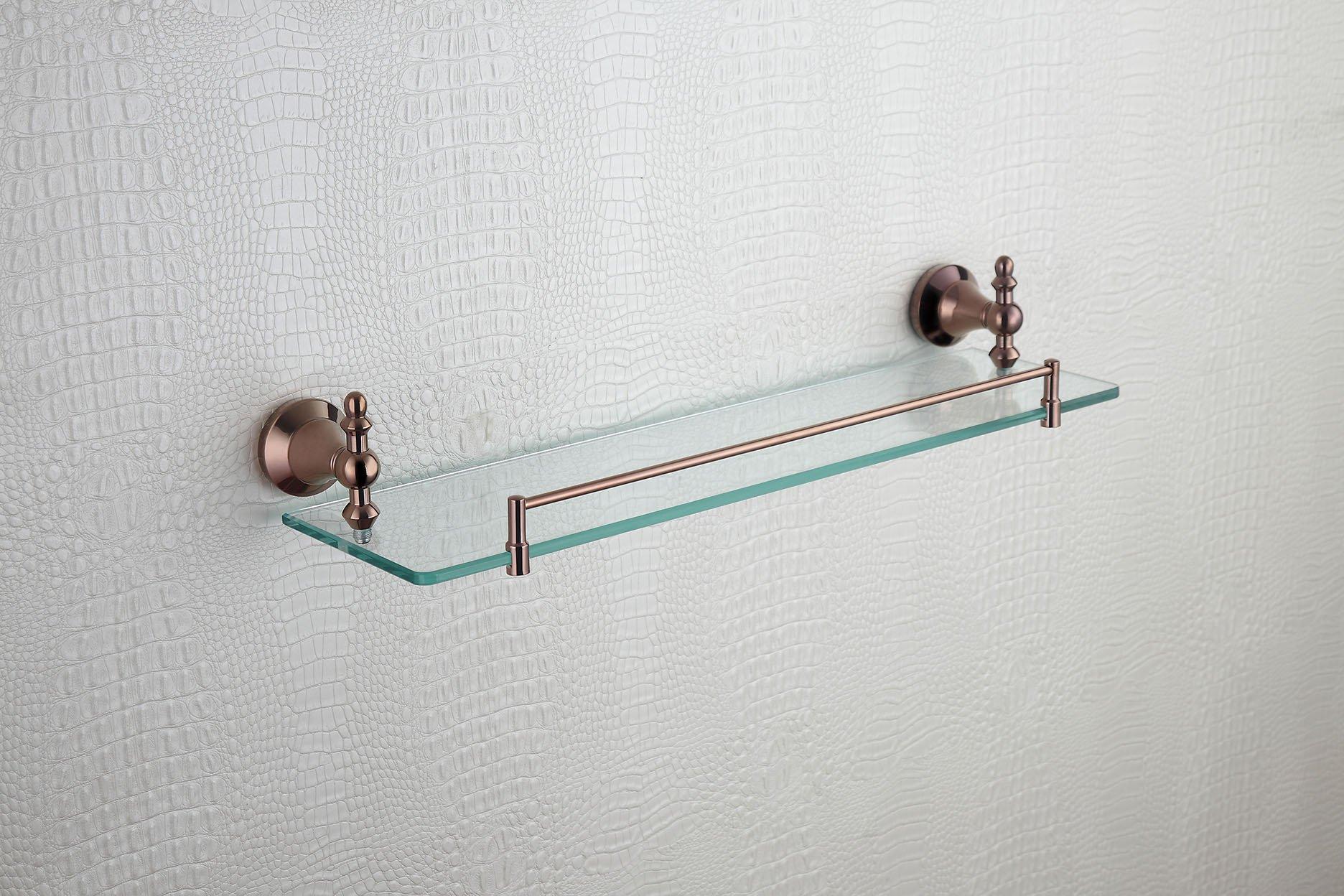 Cloud Power Stylish Rose Gold Color Bathroom Brass Single Glass Shelves Single Glass Shelves With Titanium Wall-mounted Single Glass Shelves