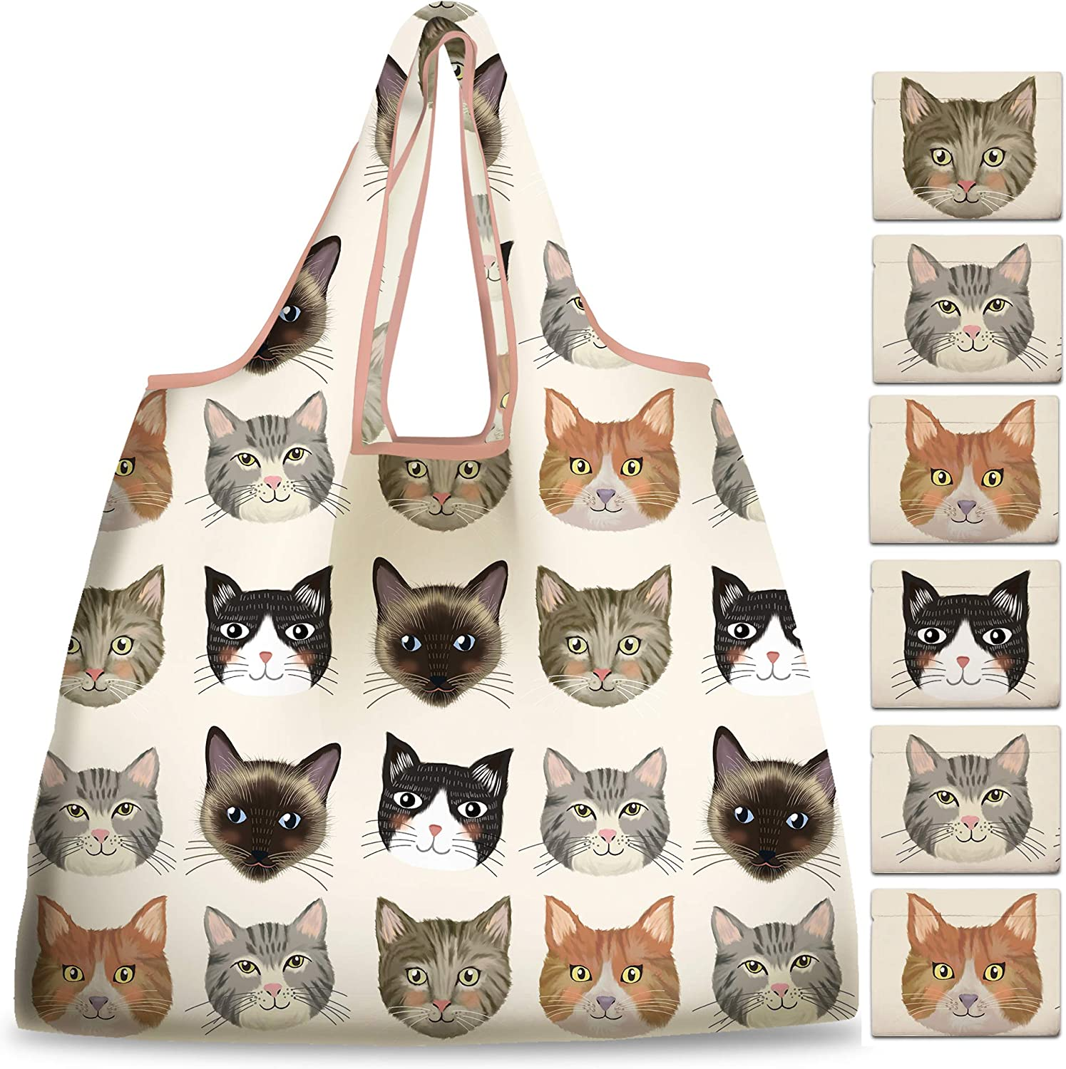 NymphFable 6 Pack Grocery Bags Reusable Cute Cat Animal Shopping Bags Washable Foldable Waterproof Eco Friendly 50LBS