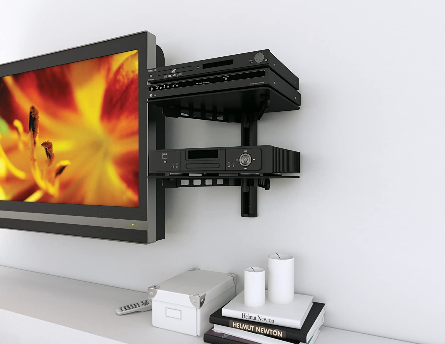 lcd shelf p arm cheetah tv wall shelving component with mounts bracket mount htm