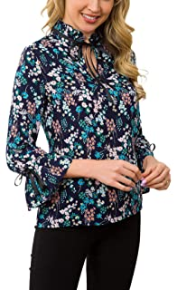 4ad9df0f68ec4b ACONIYA Womens Bow Tie Neck Long/Short Sleeve Blouse Office Work Chiffon  Elegant Casual Shirt