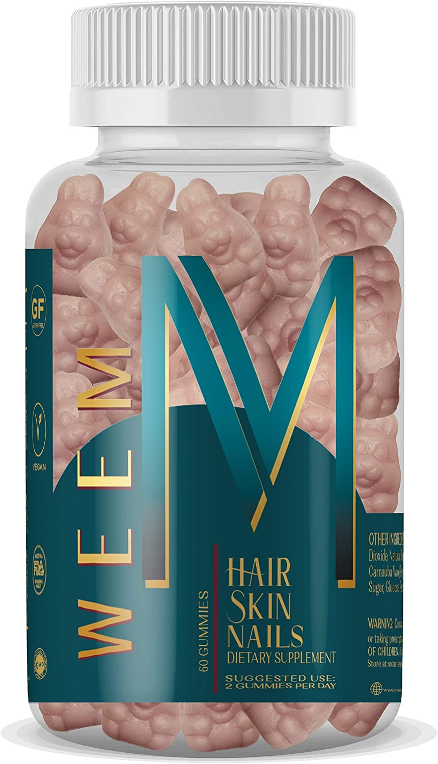 WEEM Hair Skin and Nails Gummies - Supports Healthy Hair - Vegan biotin Vitamins for Women & Men Supports Faster Hair Growth, Stronger Nails, Healthy Skin, Extra Strength 10,000mcg