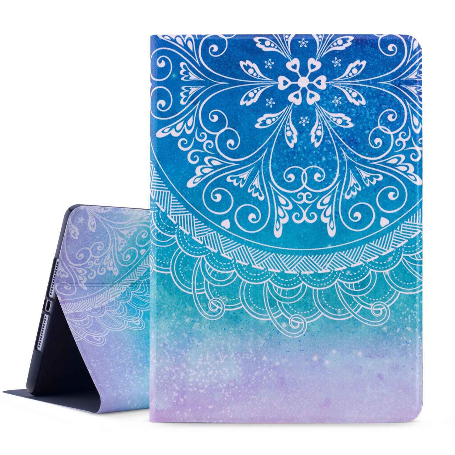 Dopup iPad 9.7 Case 2018/2017 iPad Case, Premium Leather Folio Case Cover for Apple iPad 9.7 inch, Multiple Viewing Angles Stand, Also Fits iPad Air 2/ iPad Air (Blue Mandara)