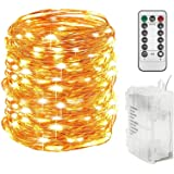 Twinkle Star 300 LED 99 FT Copper Wire String Lights Battery Operated 8 Modes with Remote, Waterproof Fairy String Lights for
