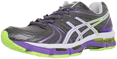 ASICS Women's GEL-Kayano 18 Running Shoe,Titanium/White/Neon Purple,