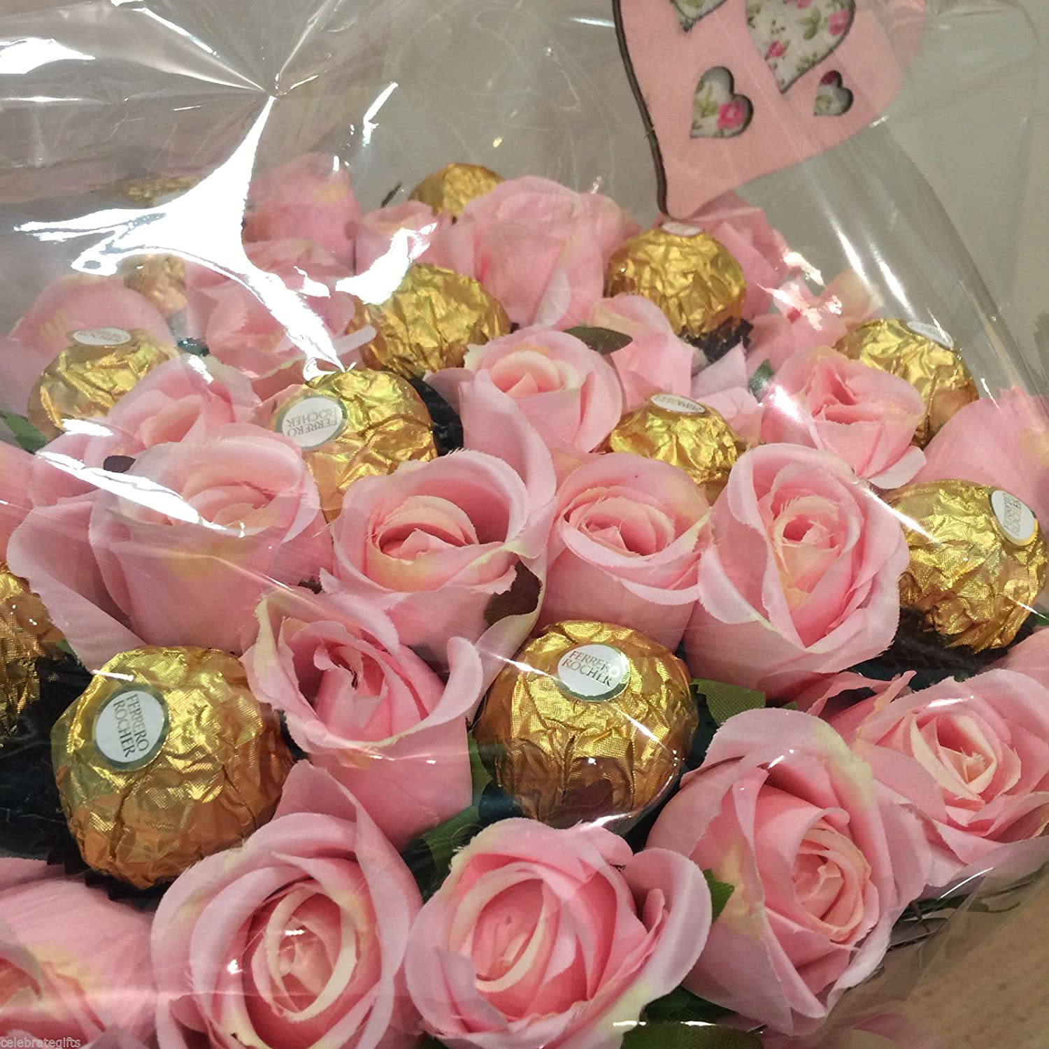 Luxury Silk Pink Roses and Ferrero Rocher Chocolate Bouquet: Amazon ...