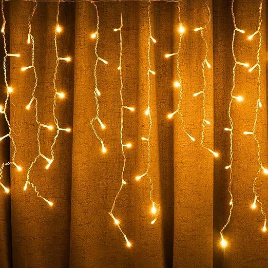 Luces solares de 8 modos de guirnalda de luces de Navidad para recámara, patio, jardín, boda, fiesta, al aire libre, decoración de pared (11M 264LED, blanco cálido): Amazon.es: Iluminación