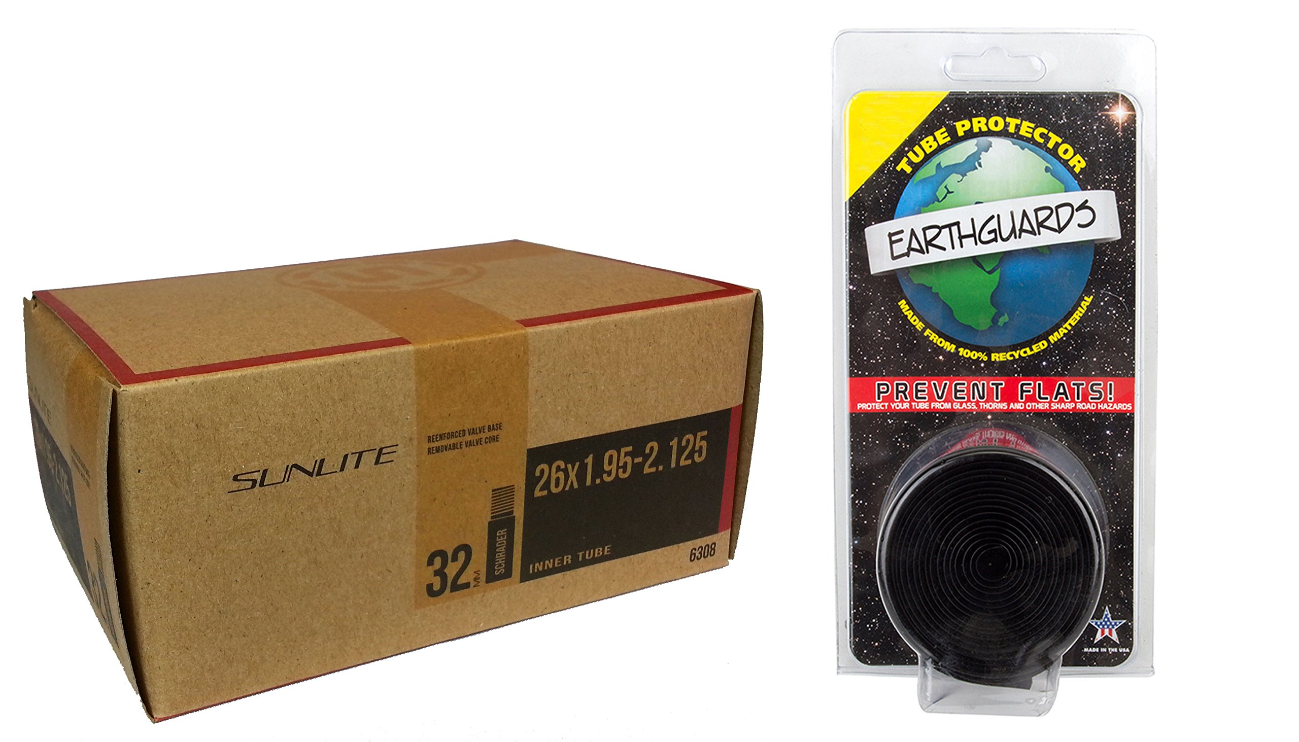 1 PACK - Tube & Tire Liner, 26 x 1.95-2.125 32mm SCHRADER Valve. Replacement tube with Earthguard tire liner.
