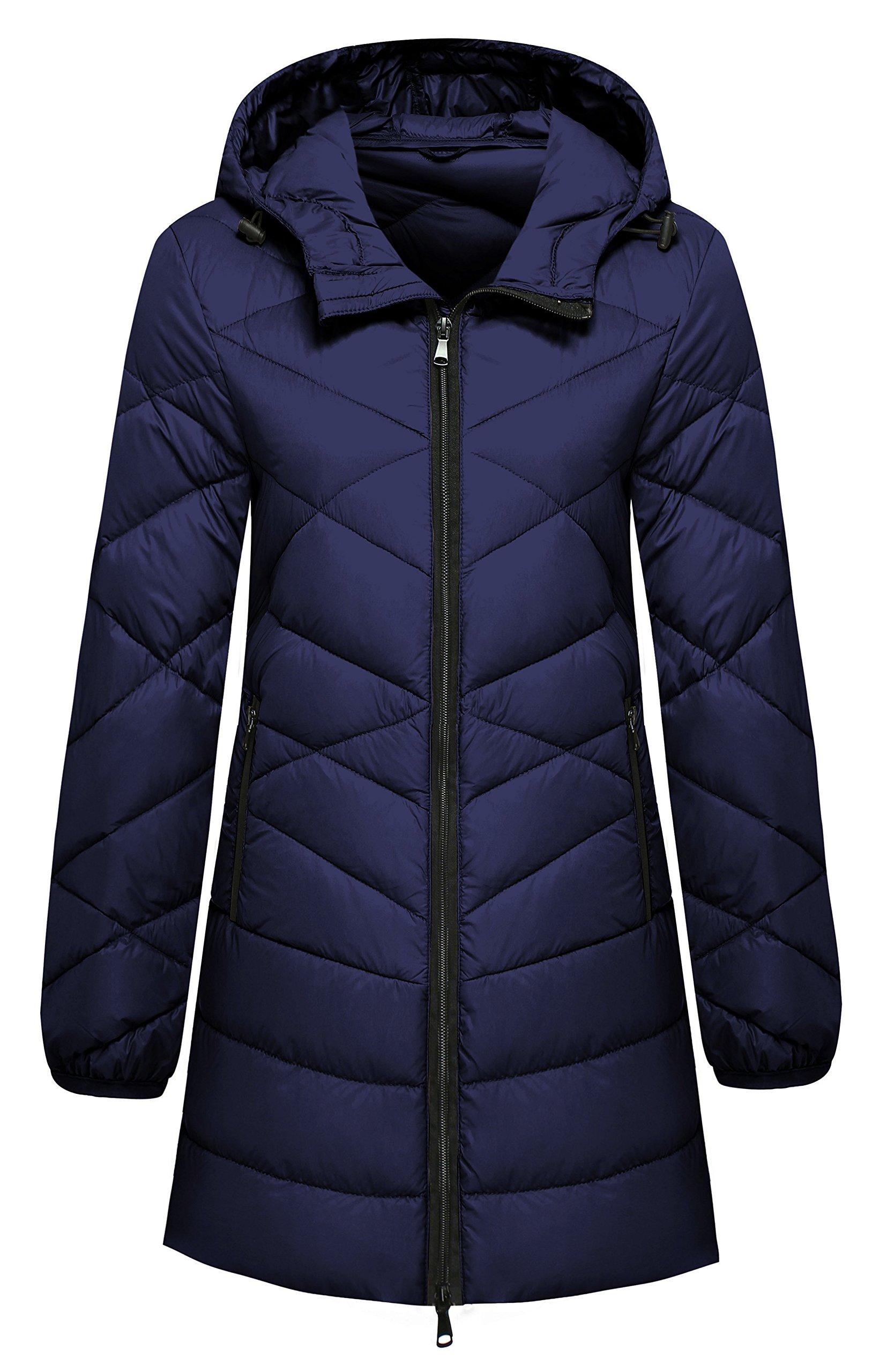 Wantdo Women's Packable Down Jacket Lightweight Puffer Coat, Navy, Medium