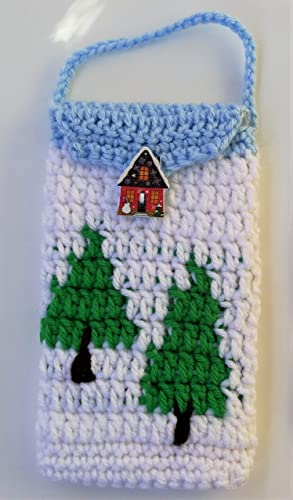 Cute Crocheted Cell Phone Case IPhone Android Bag Cases GingerBread House Tree Gifts Birthday Gift Presents Convenient For Walking Running And Other