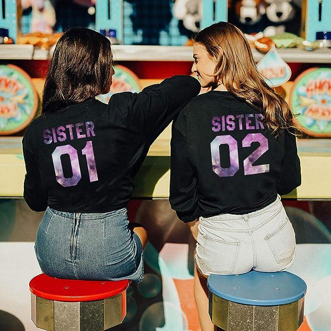 Best Friend Sudadera 2 Piezas Mejor Amiga Suéter Impresión Sister 01 02 Cuello Redondo Manga Larga Sweatshirt sin Capucha Moda Casual para Mujer Otoño ...