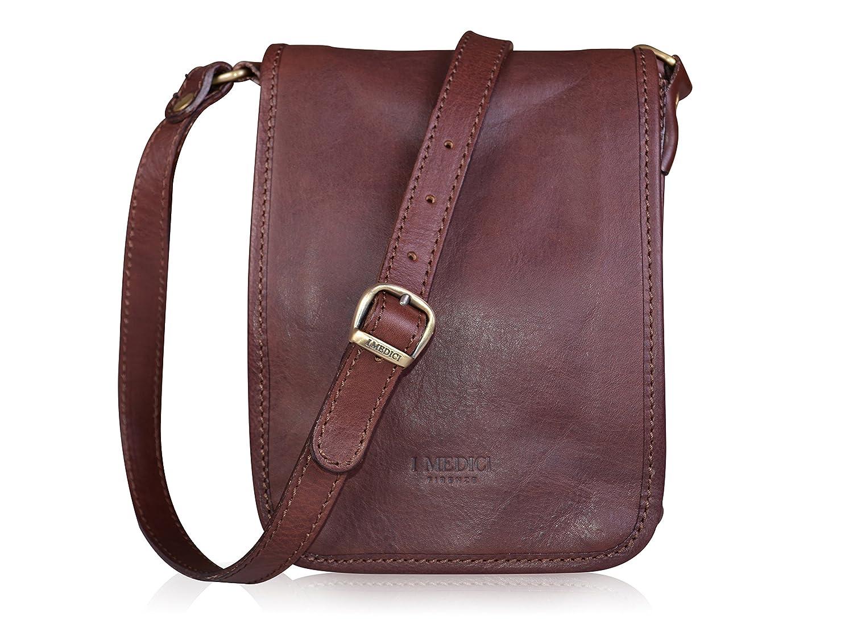 I Medici Firenze Genuine Italian Dark Brown Leather Crossbody Bag ... d02343f8f273a