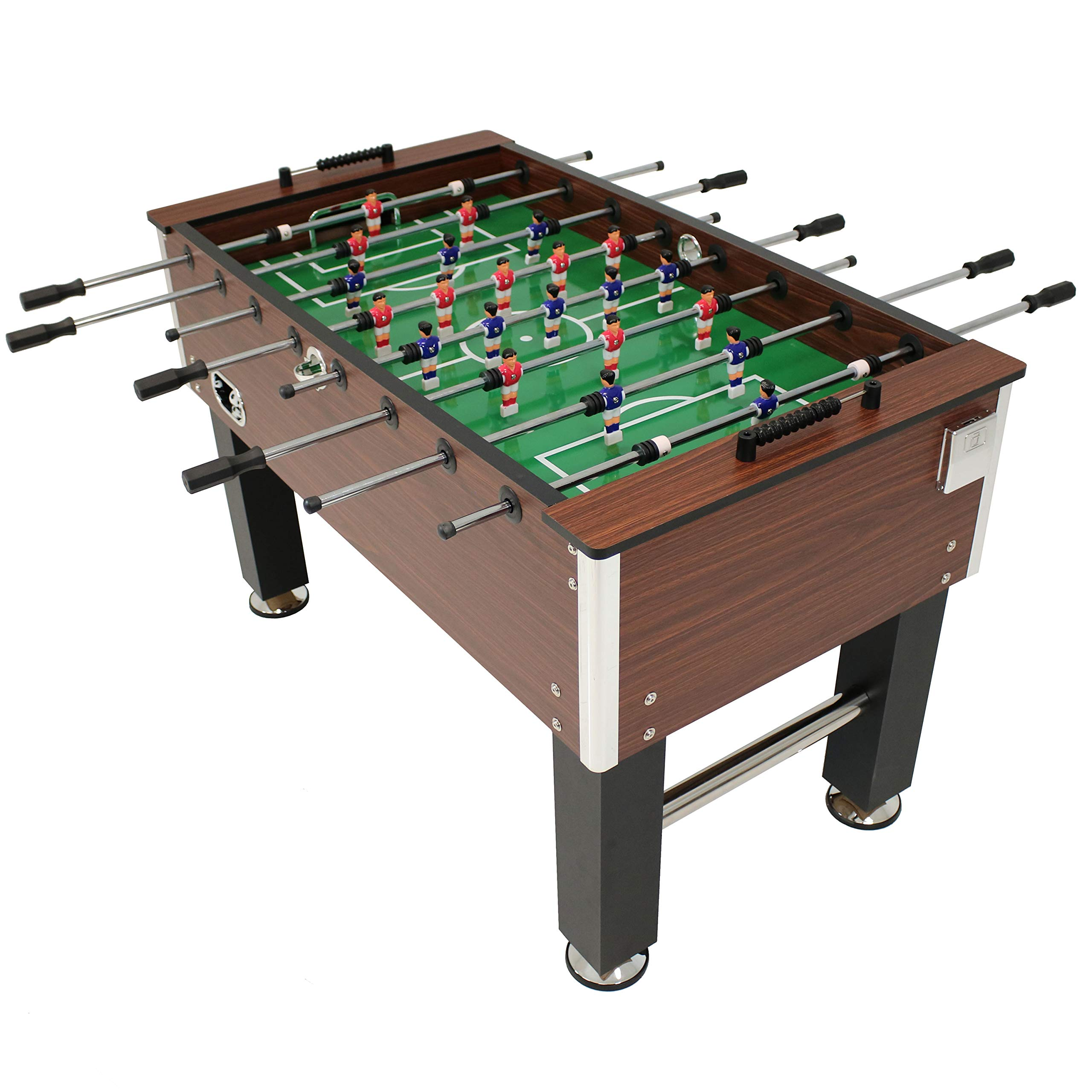 Sunnydaze 55-Inch Faux Wood Foosball Table with Folding Drink Holders, Sports Arcade Soccer for Game Room by Sunnydaze Decor