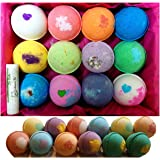 12 Vegan Bath Bombs Gift Set, w/Free Lip Balm, Organic Coconut Oil & Aromatherapy Essential Oils, Cruelty Free, PABA Free, Handmade in the USA