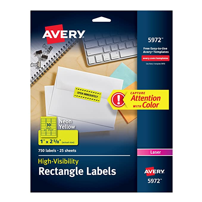 amazon com avery neon laser labels rectangle 1 x 2 5 8