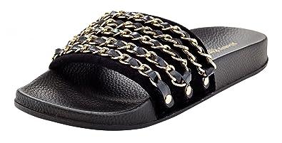 ead8120191f6 Henry Ferrera Women s Velvet Slide Sandal with Chain Link
