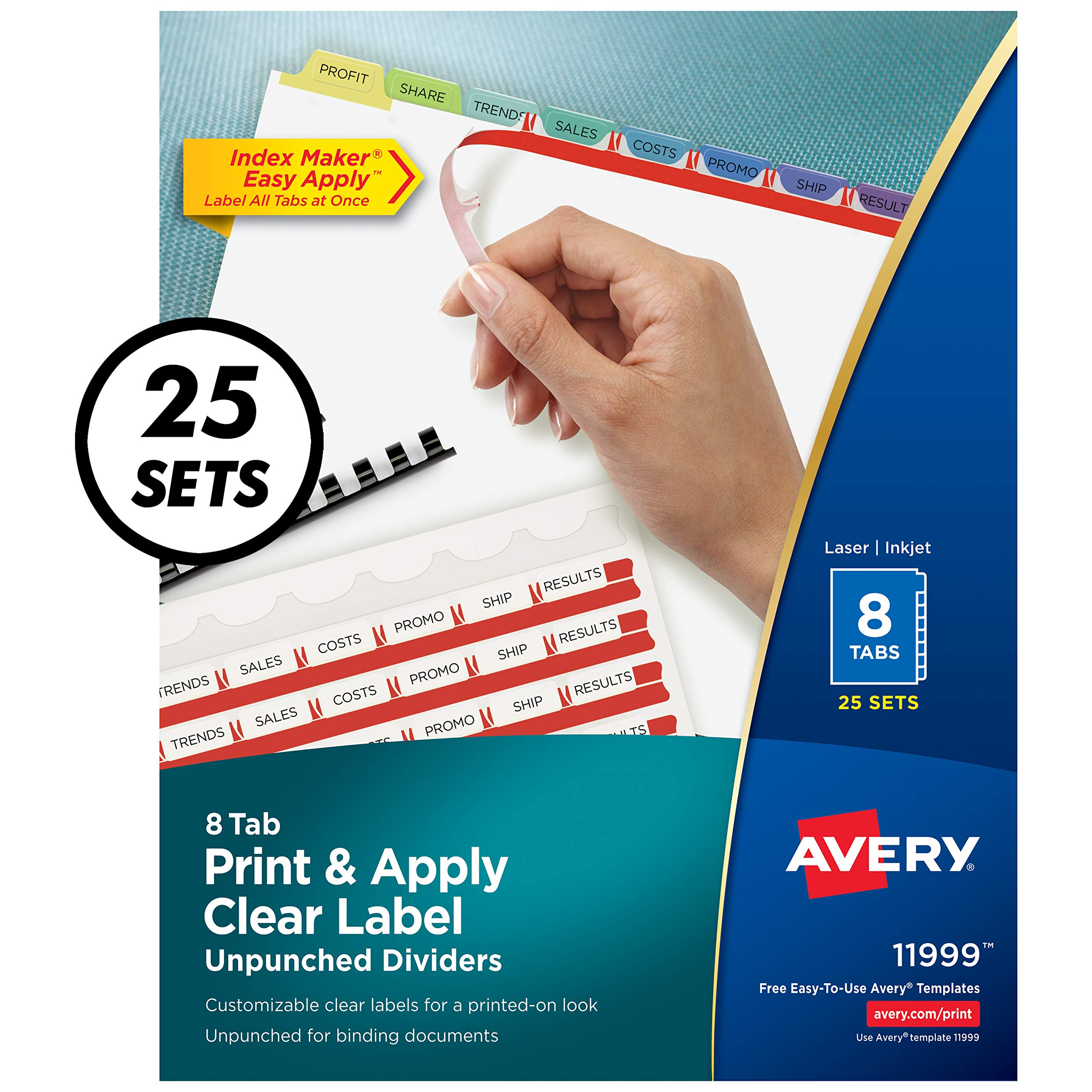 Avery 8-Tab Unpunched Binder Dividers, Easy Print & Apply Clear Label Strip, Index Maker, Pastel Tabs, 25 Sets (11999) by AVERY