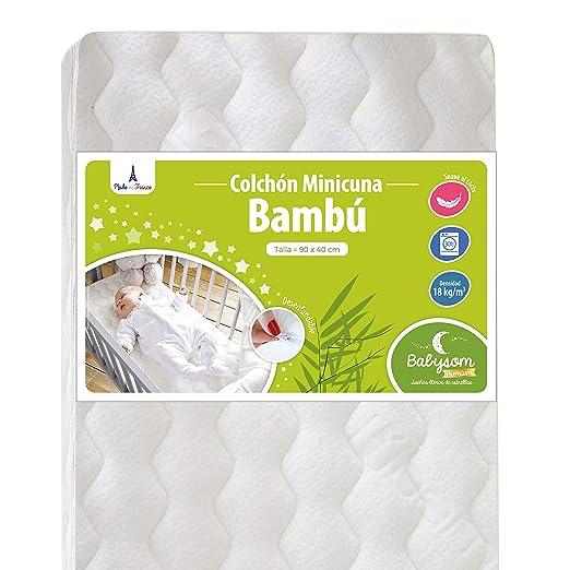 Babysom - Colchón Minicuna bebé - 90 x 40 cm - Funda de Bambú - Transpirable - Altura 5 cm - Desenfundable - Garantía 2 años: Amazon.es: Bebé