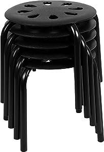 "Flash Furniture Plastic Nesting Stack Stools, 11.5""Height, Black (5 Pack)"